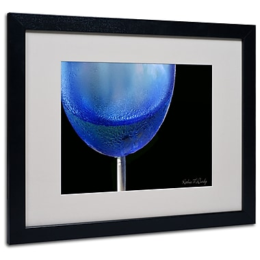 Kathie McCurdy 'Blue Wine Glass' Matted Framed Art - 11x14 Inches - Wood Frame