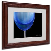 Kathie McCurdy 'Blue Wine Glass' Matted Framed Art - 16x20 Inches - Wood Frame