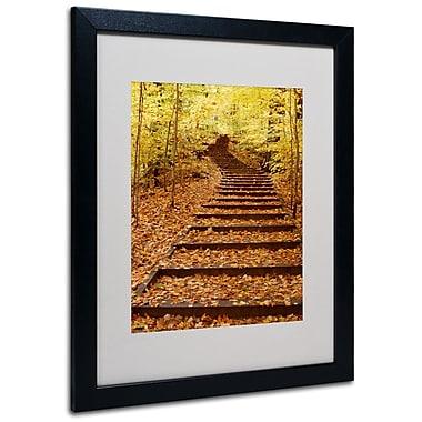 Kurt Shaffer 'Fall Stairway' Framed Matted Art - 11x14 Inches - Wood Frame