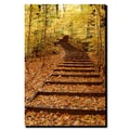 Trademark Fine Art Fall Stairway by Kurt Shaffer-Gallery Wrapped Canvas 24x32 Inches