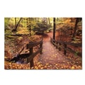 Trademark Fine Art Kurt Shaffer 'Autumn Bridge' Canvas Art 14x19 Inches
