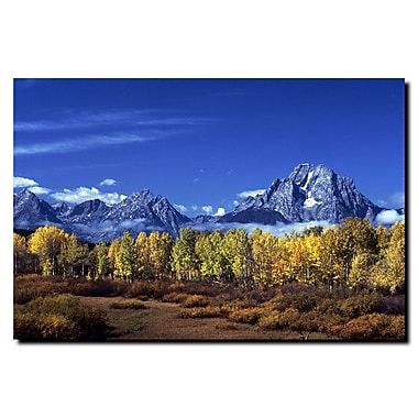 Trademark Fine Art Autumn Tetons by Kurt Shaffer-Gallery Wrapped Canvas 24x32 Inches