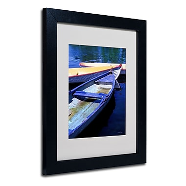 Trademark Fine Art Kathy Yates 'Bois de Boulogne Boats' Matted Art Black Frame 16x20 Inches
