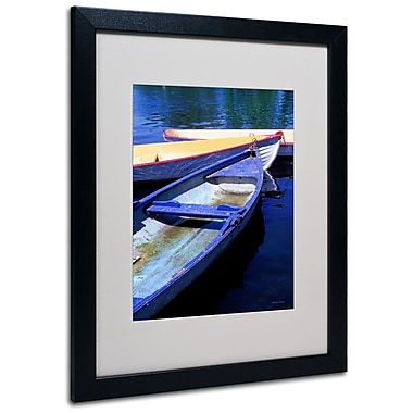 Kathy Yates 'Bois de Boulogne Boats' Matted Framed Art - 11x14 Inches - Wood Frame