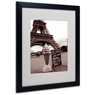 Kathy Yates 'Eiffel Tower Ice Cream Cone 2' Matted Framed - 11x14 Inches - Wood Frame