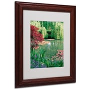 Kathy Yates 'Monet's Lily Pond 2' Matted Framed Art - 11x14 Inches - Wood Frame