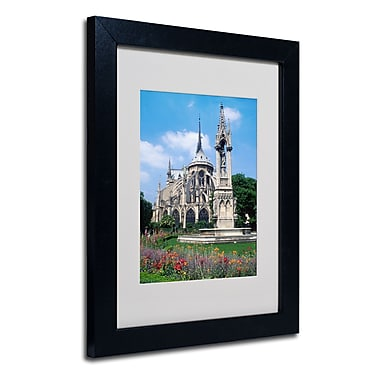 Trademark Fine Art Kathy Yates 'Notre Dame in Spring' Matted Art Black Frame 16x20 Inches
