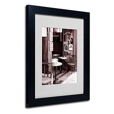 Trademark Fine Art Kathy Yates 'Paris Cafe' Matted Art Black Frame 16x20 Inches