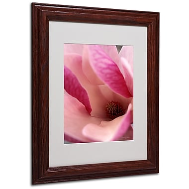 Kathy Yates 'Tulip Magnolia Blossom' Matted Framed Art - 16x20 Inches - Wood Frame