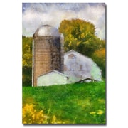 Trademark Fine Art Lois Bryan 'Barn and Silo' Canvas Art 16x24 Inches