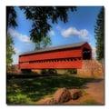 Trademark Fine Art Lois Bryan 'Red Covered Bridge' Canvas Art 18x18 Inches