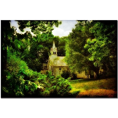 Trademark Fine Art The Little Church on the Corner by Lois Bryan Art 16x24 Inches