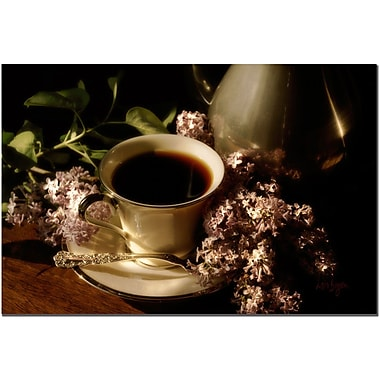 Trademark Fine Art Coffee and Lilacs in the Morning by Lois Bryan Art 16x24 Inches
