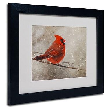 Trademark Fine Art Lois Bryan 'Cardinal In Winter' Matted Art Black Frame 16x20 Inches