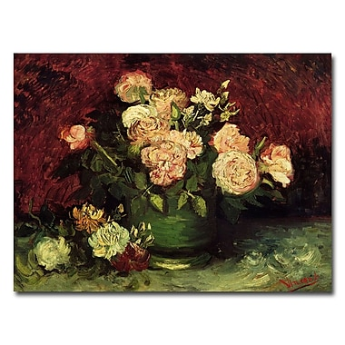 Trademark Fine Art Vincent van Gogh 'Peonies and Roses' Canvas Art 14x19 Inches