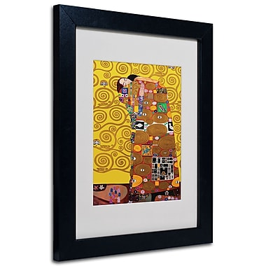 Trademark Fine Art Gustav Klimt 'Fulfillment' Matted Art Black Frame 16x20 Inches