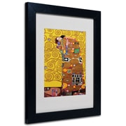 Trademark Fine Art Gustav Klimt 'Fulfillment' Matted Art Black Frame 11x14 Inches