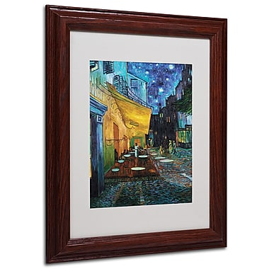 Vincent van Gogh 'Cafe Terrace' Framed Matted Art - 11x14 Inches - Wood Frame
