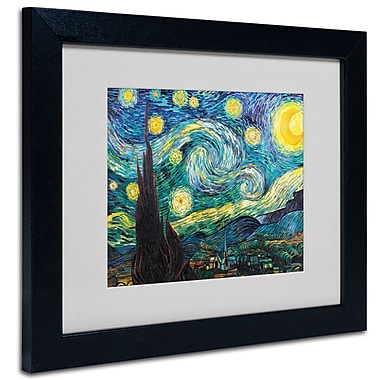 Trademark Fine Art Vincent van Gogh 'Starry Night' Matted Art Black Frame 11x14 Inches