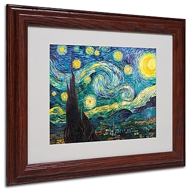 Vincent van Gogh 'Starry Night' Framed Matted Art - 11x14 Inches - Wood Frame
