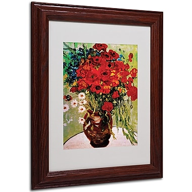 Vincent van Gogh 'Daisies and Poppies' Framed Matted Art - 11x14 Inches - Wood Frame