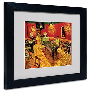 Trademark Fine Art Vincent van Gogh 'Night Cafe' Matted Art Black Frame 11x14 Inches