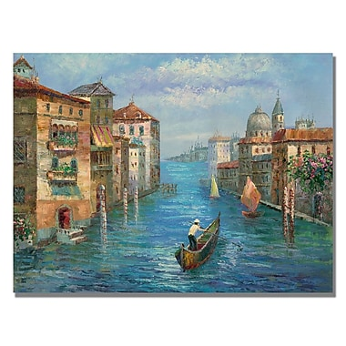 Trademark Fine Art Rio 'Solitary Gondolier' Canvas Art 35x47 Inches