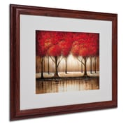 Rio 'Parade of Red Trees' Matted Framed Art - 16x20 Inches - Wood Frame
