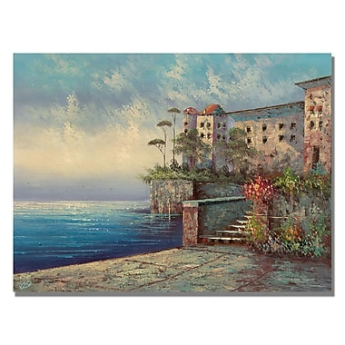 Trademark Fine Art Rio 'Bellagio Lakeside Promenade' Canvas Art 35x47 Inches
