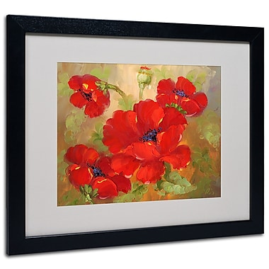 Trademark Fine Art 'Poppies' Matted Art Black Frame 16x20 Inches
