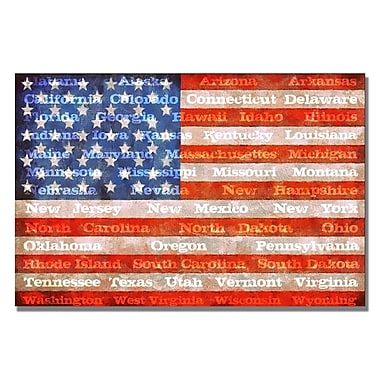 Trademark Fine Art Michelle Calkins 'American Flag with States' Canvas Art 30x47 Inches
