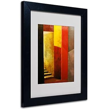 Trademark Fine Art Michelle Calkins 'Mystery Stairwell' Matted Art Black Frame 11x14 Inches
