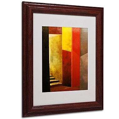 Michelle Calkins 'Mystery Stairwell' Framed Matted Art - 11x14 Inches - Wood Frame