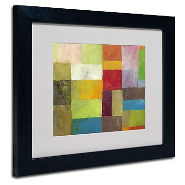 Trademark Fine Art Michelle Calkins 'Abstract Color Panels 4' Matted Art Black Frame 11x14 Inches