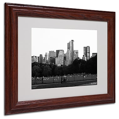 Miguel Paredes 'Sheep's Meadow' Matted Framed Art - 11x14 Inches - Wood Frame