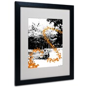Trademark Fine Art Miguel Paredes 'Orange Butterflies' Matted Art Black Frame 16x20 Inches