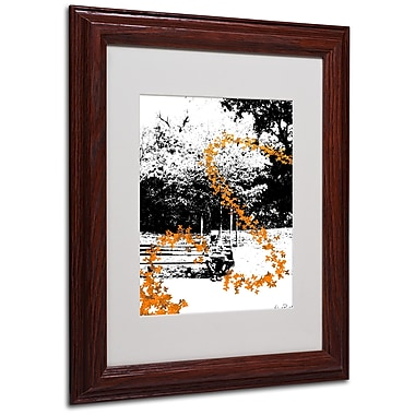 Miguel Paredes 'Orange Butterflies' Matted Framed Art - 11x14 Inches - Wood Frame