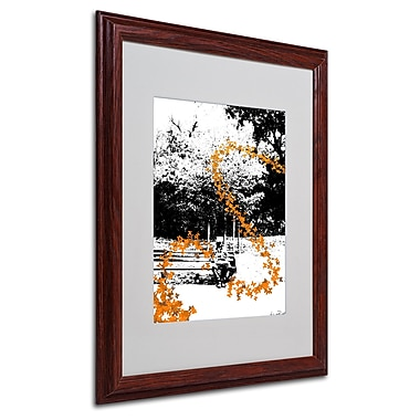 Miguel Paredes 'Orange Butterflies' Matted Framed Art - 16x20 Inches - Wood Frame