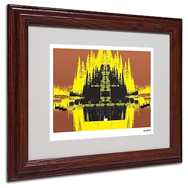 Miguel Paredes 'Yellow Trees' Matted Framed Art - 11x14 Inches - Wood Frame