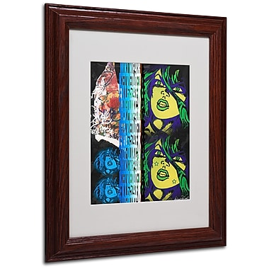Miguel Paredes 'Crime in Black' Matted Framed Art - 11x14 Inches - Wood Frame