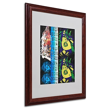 Miguel Paredes 'Crime in Black' Matted Framed Art - 16x20 Inches - Wood Frame