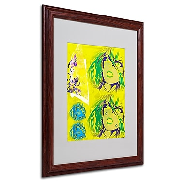 Miguel Paredes 'Crime in Yellow' Matted Framed Art - 16x20 Inches - Wood Frame