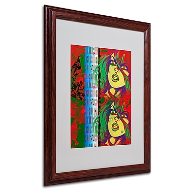 Miguel Paredes 'Red' Matted Framed Art - 16x20 Inches - Wood Frame