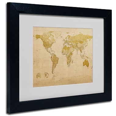 Trademark Fine Art Michael Tompsett 'World Map Antique' Matted Art Black Frame 11x14 Inches