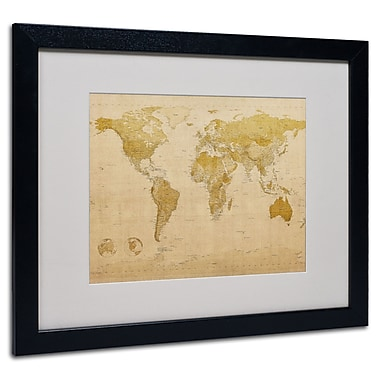 Trademark Fine Art Michael Tompsett 'World Map Antique' Matted Art Black Frame 16x20 Inches