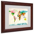 Michael Tompsett 'Watercolor Countries' Framed Matted Art - 11x14 Inches - Wood Frame