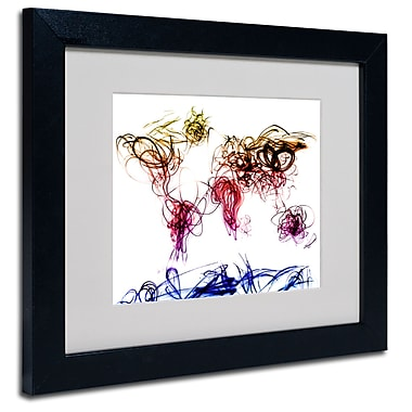 Trademark Fine Art Michael Tompsett 'Light Writing World Map' Matted Art Black Frame 16x20 Inches