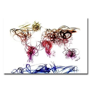 Trademark Fine Art Michael Tompsett 'Light Writing World Map' Canvas Art