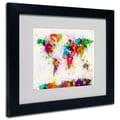 Trademark Fine Art Michael Tompsett 'World Map-Paint' Matted Art Black Frame 11x14 Inches