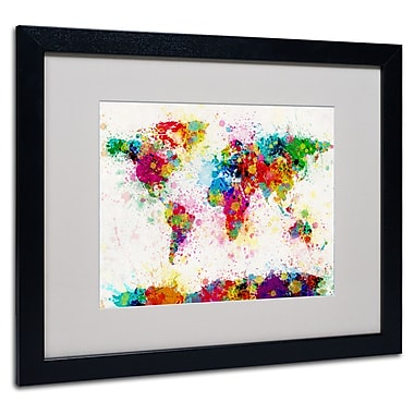 Trademark Fine Art Michael Tompsett 'World Map-Paint' Matted Art Black Frame 16x20 Inches